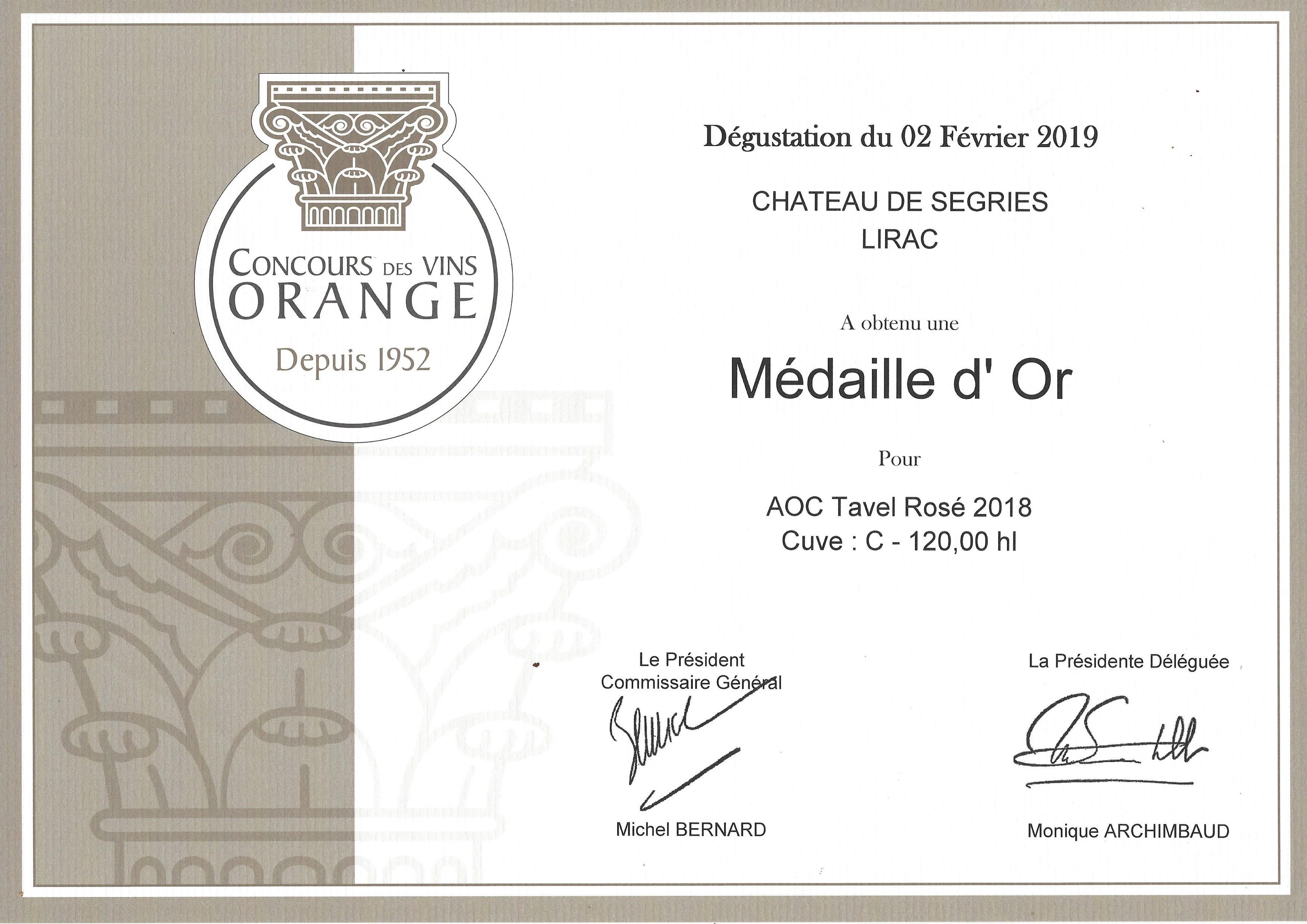 Médaille d'Or pour AOC Tavel Rosé 2018
